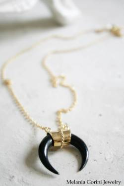 Vermeil necklace with black bone pendant