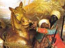 Le briglie dei cavalli dei Mori con la mezza luna a pendente
